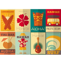 Hawaii Surf Retro Posters vector image