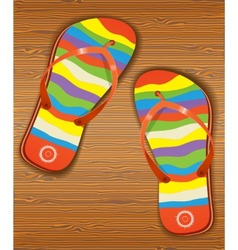 Wood texture with slippers vector