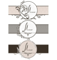 Set vintage ornamental ribbons vector