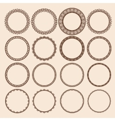 Set of round pattern frames vector