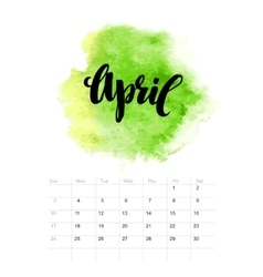 Calendar with watercolor paint 2016 design vector