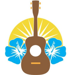 ukulele hibiscus vector image