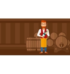Waiter holding bottle of wine vector