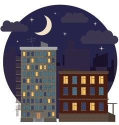 Night urban landscape city estate round flat icon vector