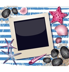 Beach styled polaroid background vector