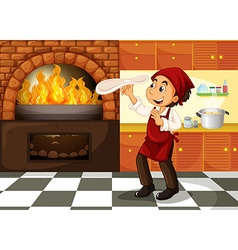 Chef making pizza at hot stove vector image