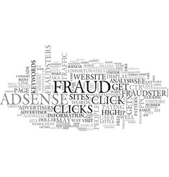 Adsense fraud text word cloud concept vector
