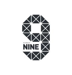 Black and white number nine geometrical logo vector image