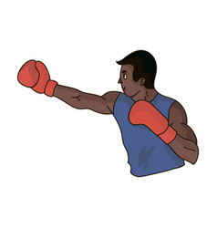 Brown boxer in boxing glovesthe olympic sport of vector