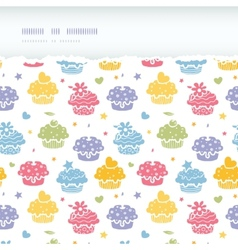 Colorful cupcake party horizontal torn seamless vector