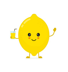 cute smiling happy lemon with a glass vector image vector image
