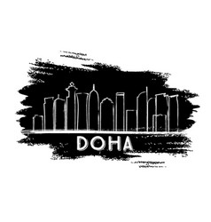 doha skyline silhouette hand drawn sketch vector image vector image