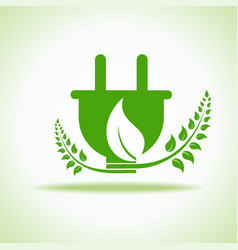 eco plug with green leaf stock vector image