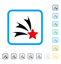 Falling star framed icon vector