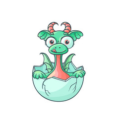 flat dragon baby hatching from egg vector image vector image