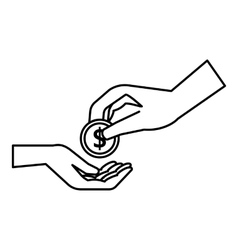 Hands holding coins icon outline style vector image