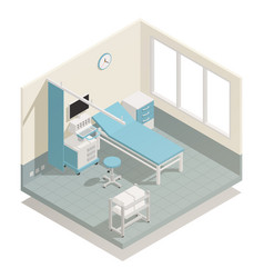 Hospital medical equipment isometric composition vector