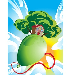 House and green tree floating on a balloon vector