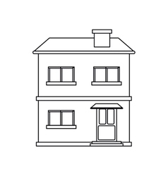 House facade residential estructure outline vector