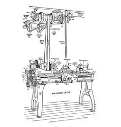 Long lathe vintage vector