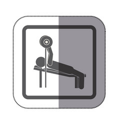 Man practicing weights lying down icon vector