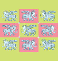 Mechanical iron elephant pattern vector