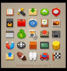 multimedia icon set-7 vector image vector image