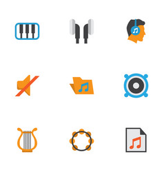 Music flat icons set collection of portfolio vector