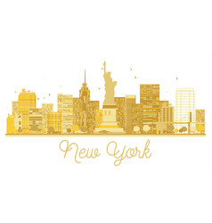 New york city skyline golden silhouette vector