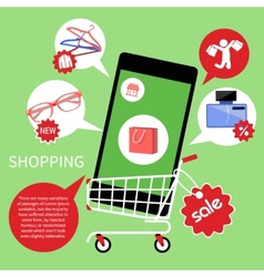 Online shopping cart with smartphone vector image vector image
