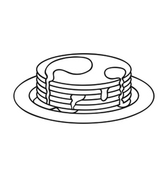 Pancakes with honey icon in outline style isolated vector