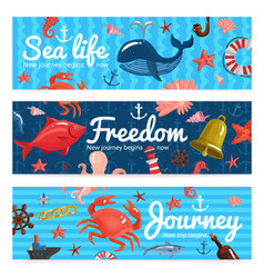 Sea journey horizontal banners vector