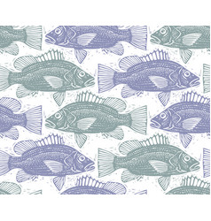 Seamless sea pattern different fish silhouettes vector