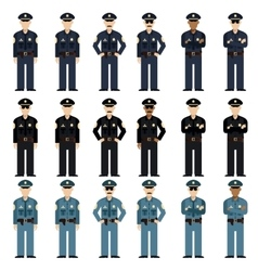 Set of police men vector image