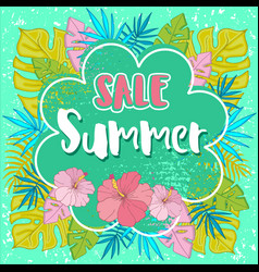 Summer sale background with tropical palm leaves 2 vector