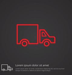 Truck outline symbol red on dark background logo vector