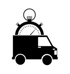 Van and compass delivery service icon vector