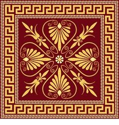 Vintage golden square greek ornament meander vector