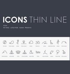yoga thin line icons vector image