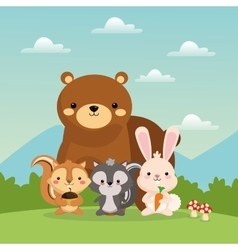 Bear squirrel rabbit and skunk cartoon icon vector image