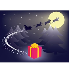 Santa leaving gift vector