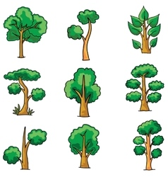 Tree set on doodles vector image