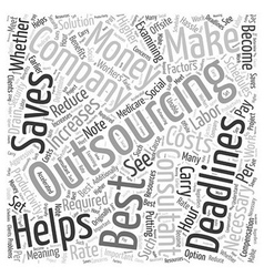 When outsourcing is the best solution word cloud vector