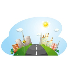 A road going to the city with factories vector