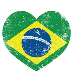 Brazil retro heart shaped flag vector image