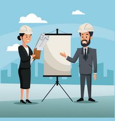 man and woman engineer construction presentation vector image
