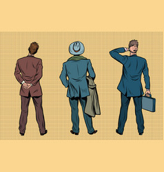Three retro businessman standing back vector