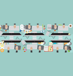 8000x3200 pixel flat view business workplace with vector