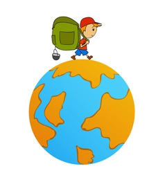 Cartoon travel man with backpack around world vector
