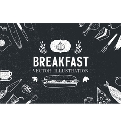 Breakfast food hand drawn vector